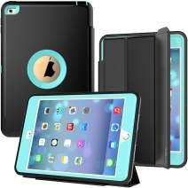 iPad Mini 4 Case, SEYMAC Three Layer Drop Protection Rugged Protective Heavy Duty iPad Mini Stand Case with Magnetic Smart Auto Wake/Sleep Cover for iPad Mini 4th/5th Generation (Black/Light Blue)