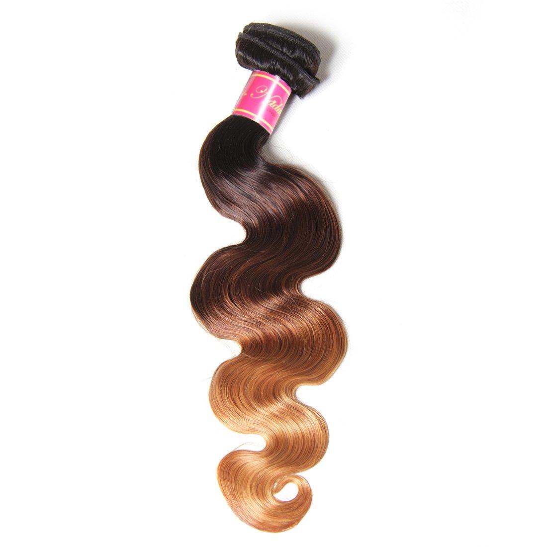 Nadula 8A Grade Brazilian 3 Tone Ombre Color 1B/4/27# Body Wave Hair 1 Bundle Cheap Brazilian Virgin Human Hair Products 100+/-5g/pcs Weave Extensions Natural Color (16inch)