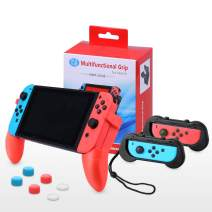 Nintendo Switch Grip Stand, AISITIN Joy-Con Grips for Switch Controller,Comfort Switch Hand Grip Handle Kit with Game Card Slots,6 Thumb Grips for Nintendo Switch Accessories 4in1