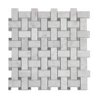 Diflart Italian White Carrara Marble Mosaic Tile with Gray Marble Dots Polished, 5 Sheets/Box (Basketweave)