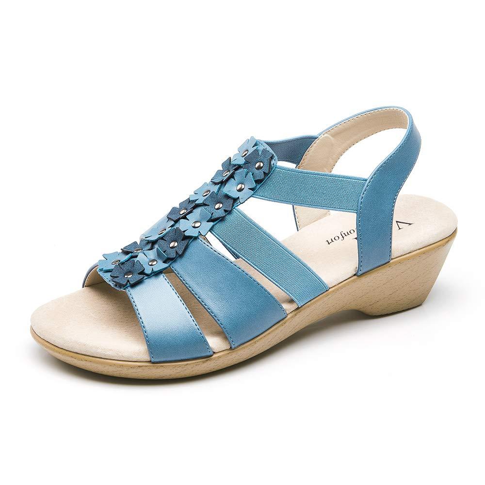 VJH confort Women's Wedge Sandals Flower Elastic Platform Comfort Slingback Casual Flat Sandals