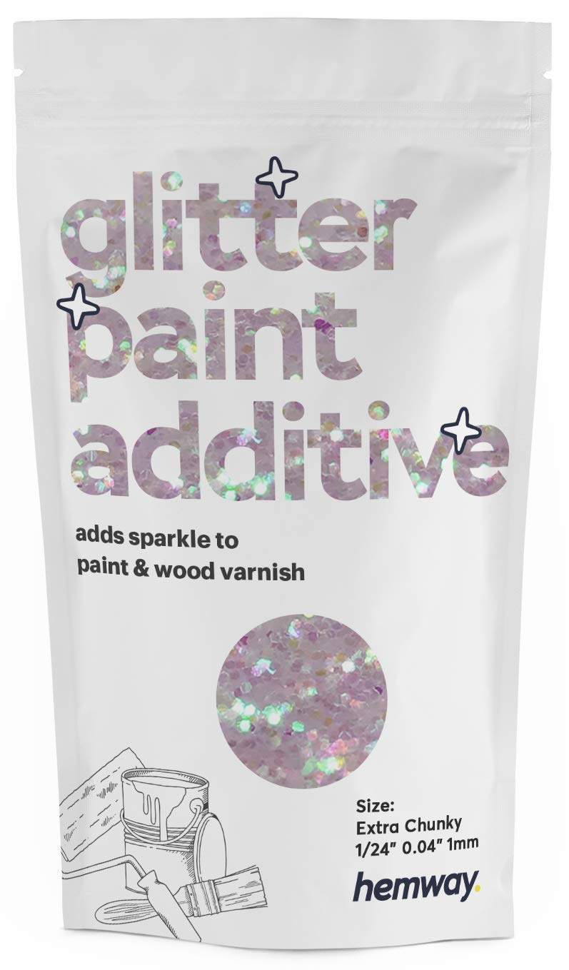 """Hemway Glitter Paint Additive Extra Chunky 1/24"""" 0.040"""" 1MM Emulsion Water Based Paints Wall Ceiling 100g / 3.5oz (Mother of Pearl)"""