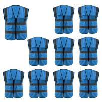 GOGO Multi Pockets High Visibility Zipper Front Safety Vest with Reflective Strips Uniform Vest, Pack of 10-Blue-L