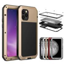 iPhone 11 Pro Max Case, Amever Aluminum Metal Case with Silicone Frame - Water Resistant Shockproof Heavy Duty Tempered Glass Screen Protector Dual Layer Protective Case for iPhone 11 Pro Max - Gold