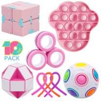Figetget Toys Fidget Toys Pack - Fidgets Box Includes Infinite Fidget Cube, Pop-Its, Fidget Ring, Snake Puzzles, Magic Ball, Stretchy Strings - Sensory Fidget Toys Set for Adults Kids
