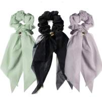 3Pcs Hair Scarves & Hair Scrunchies, Fashion Hair Ribbon Bow Scrunchies with Solid Colors, Soft Hair Scarf, Bunny Ear Scrunchies, Satin Scarf Hair Ties Bowknot Ponytail Holder for Women Girls