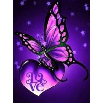 Diamond Painting Kits for Adults Kids, 5D DIY Purple Butterfly & Love Diamond Art Accessories with Full Drill for Home Wall Decor - 11.8×15.7Inch