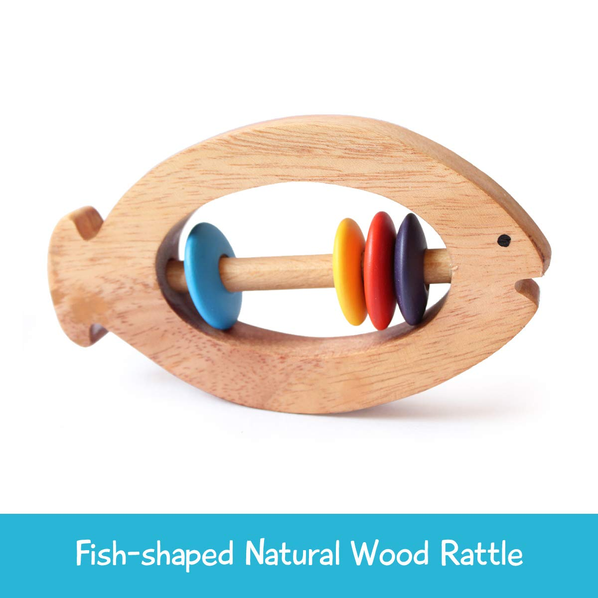 shumee Wooden Fish Rattle Rings and Teethers for Infants | Sensory Toy | 100% Safe, Natural & Eco-Friendly | 6 Months+