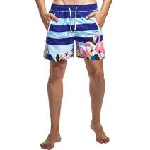 Men's Surfing Swimming Trunks Quick Dry Mesh Lining Bathing Suit with Pockets, Flamingo, Tag Size XXL