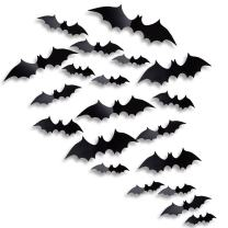 Antner Halloween Party Supplies PVC 3D Bats Removable Decals Stickers Window Decors, 36 Pieces, Black