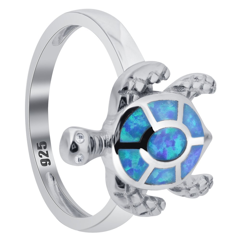 Oval Created Blue Opal Sterling Silver Turtle Ring