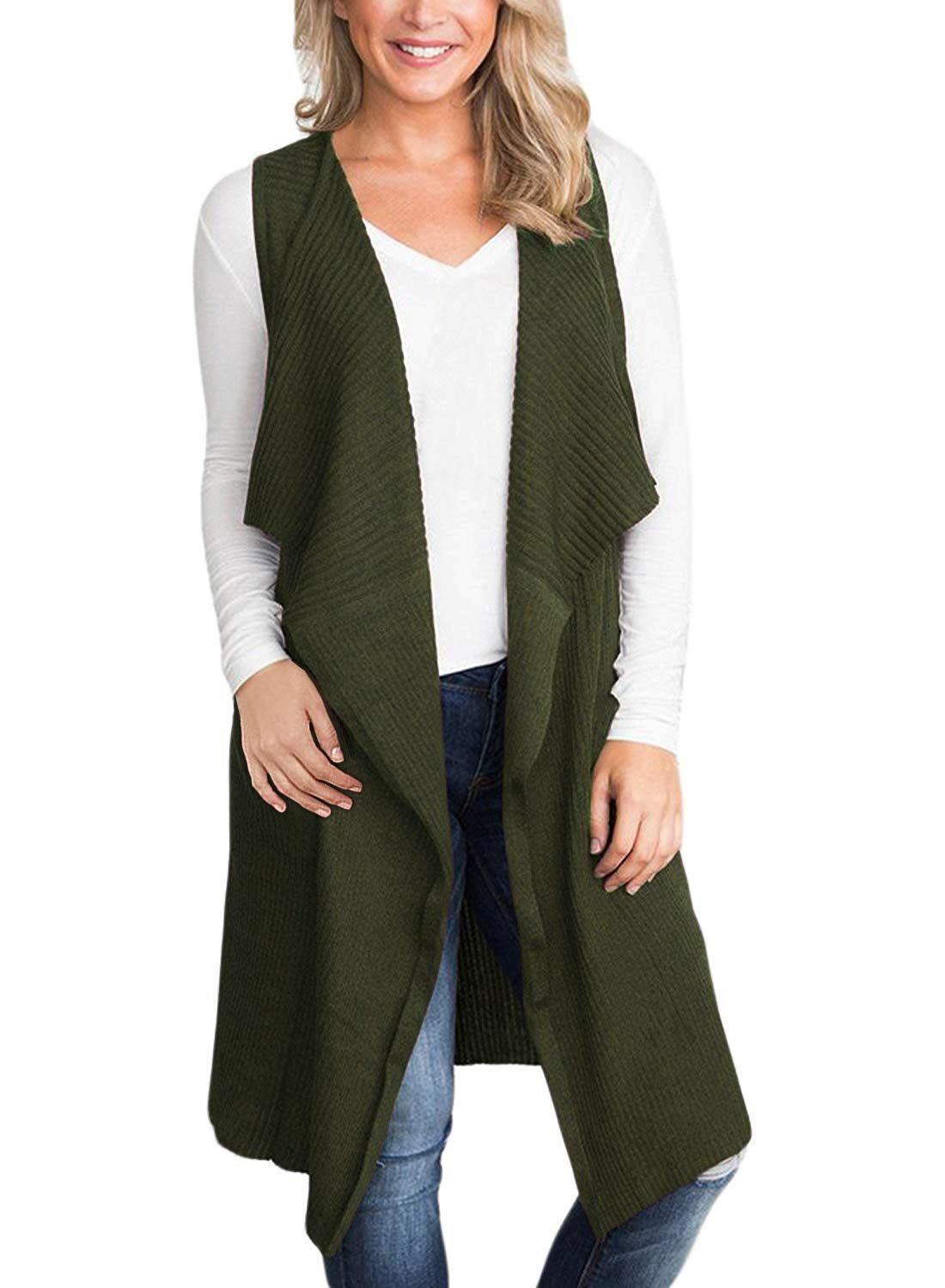 BBX Lephsnt Women Sleeveless Cardigan Open Front Knitted Long Sweater Vest