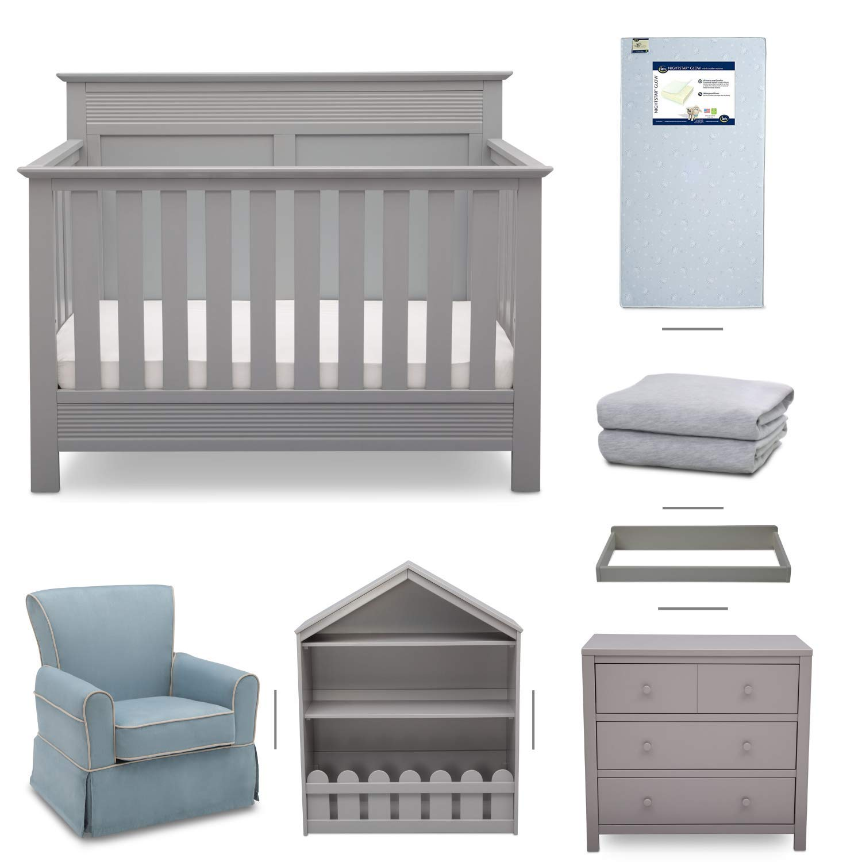 Crib Furniture - 7 Piece Nursery Set with Crib Mattress, Convertible Crib, Dresser, Bookcase, Glider Chair, Changing Top, Crib Sheets, Serta Fall River - Grey/Baby Blue