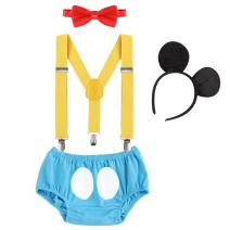 Cake Smash Outfits Baby Boy 1st Birthday Party Suspenders Diaper Nappy Cover Bow Tie Bloomers Mouse Headband #17 Blue+Red 12-18 Months