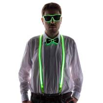 HAPYCITY LED Light Up Glasses Bow Tie Suspender for Man- Perfect for Halloween