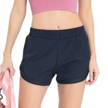 Meegsking Women's Workout Running Shorts Sport Fitness Athletic Shorts with Pocket