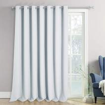 NICETOWN Room Darkening Curtain for Sliding Glass Door, Energy Saving Extra Wide Room Divider Drape Thermal Insulated for Living Room/Garage, Greyish White, W100 x L120 - inch, 1 Piece