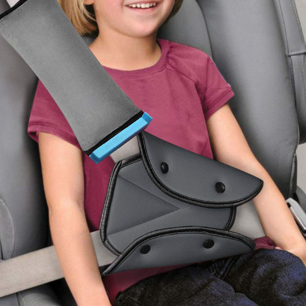 Seat Belt Adjuster and Pillow for Kids,Car Seatbelt Cover with Clip & Seat Belt Adjuster,Soft Neck Support Headrest Travel Seat Strap Protector Cushion Pads for Baby Child Short People Adult (Gray)