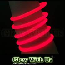 """Glow Sticks Bulk Wholesale Bracelets, 100 8"""" Red Glow Stick Glow Bracelets, Bright Color, Glow 8-12 Hrs, 100 Connectors Included, Glow Party Favors Supplies, Sturdy Packaging, GlowWithUs Brand…"""