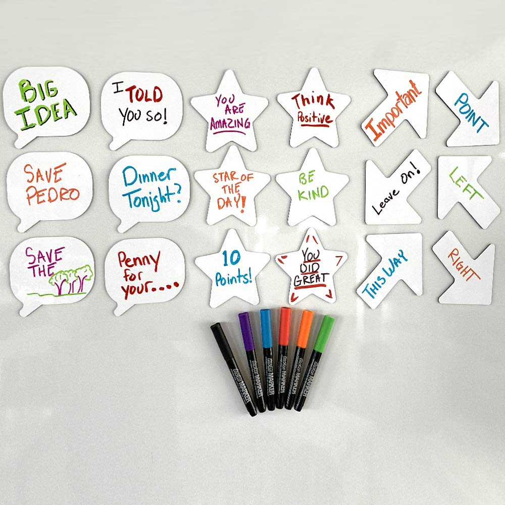 mcSquares Stickies Stars, Arrows, Bubbles Reusable Whiteboard Stickers - 18 Pack - Never Buy Paper Post Notes Again, Its Eco-Friendly! Fun Whiteboard Shapes - for Home, Office, Classroom, Lockers