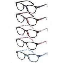 EFE 5 Pack Reading Glasses Women and Men, Fashion Eyewear with Pattern Design Lightweight Frame (+1.00)