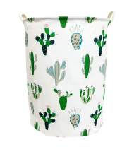 """TIBAOLOVER 19.7"""" Large Sized Waterproof Foldable Laundry Hamper Bucket,Bin Storage Organizer for Toy Collection,Canvas Storage Basket with Stylish Cactus Design(Green and Gray)"""