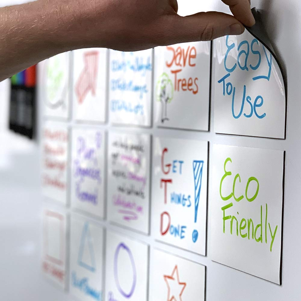 mcSquares Stickies Dry-Erase Sticky Notes. Reusable Whiteboard Stickers 4 inch Square 24 Pack - Great for Reminders, Labels, Lists, and Decals - Never Buy Paper Post Notes Again, Its Eco-Friendly!
