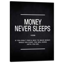 """Money Never Sleeps Inspirational Wall Art Inspiring Painting Prints on Canvas Motivational Wolf of Wall Street Entrepreneur Quotes Posters Inspiration Decoration Artwork for Office Home (18""""Wx24""""H)"""