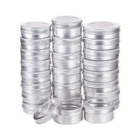 BENECREAT 24 Pack Mixed Size Tin Cans Screw Top Round Aluminum Cans Screw Lid Containers with Clear Window - Great for Store Spices, Candies, Tea or Gift Giving (Platinum)