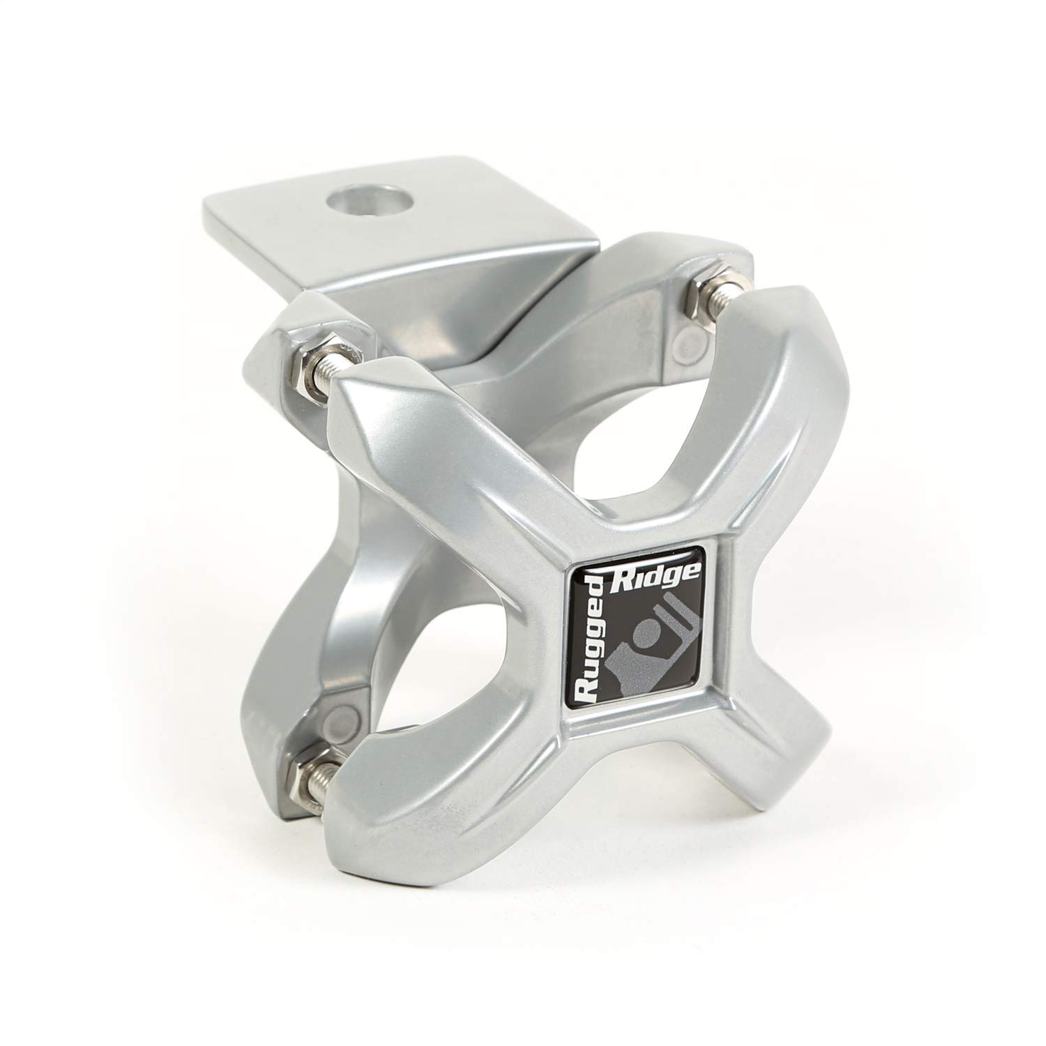 """Rugged Ridge 11031.10 Silver X-Clamp for 1.25-2"""" Tube Bumper Roll Bar and Cage Accessory Mount"""