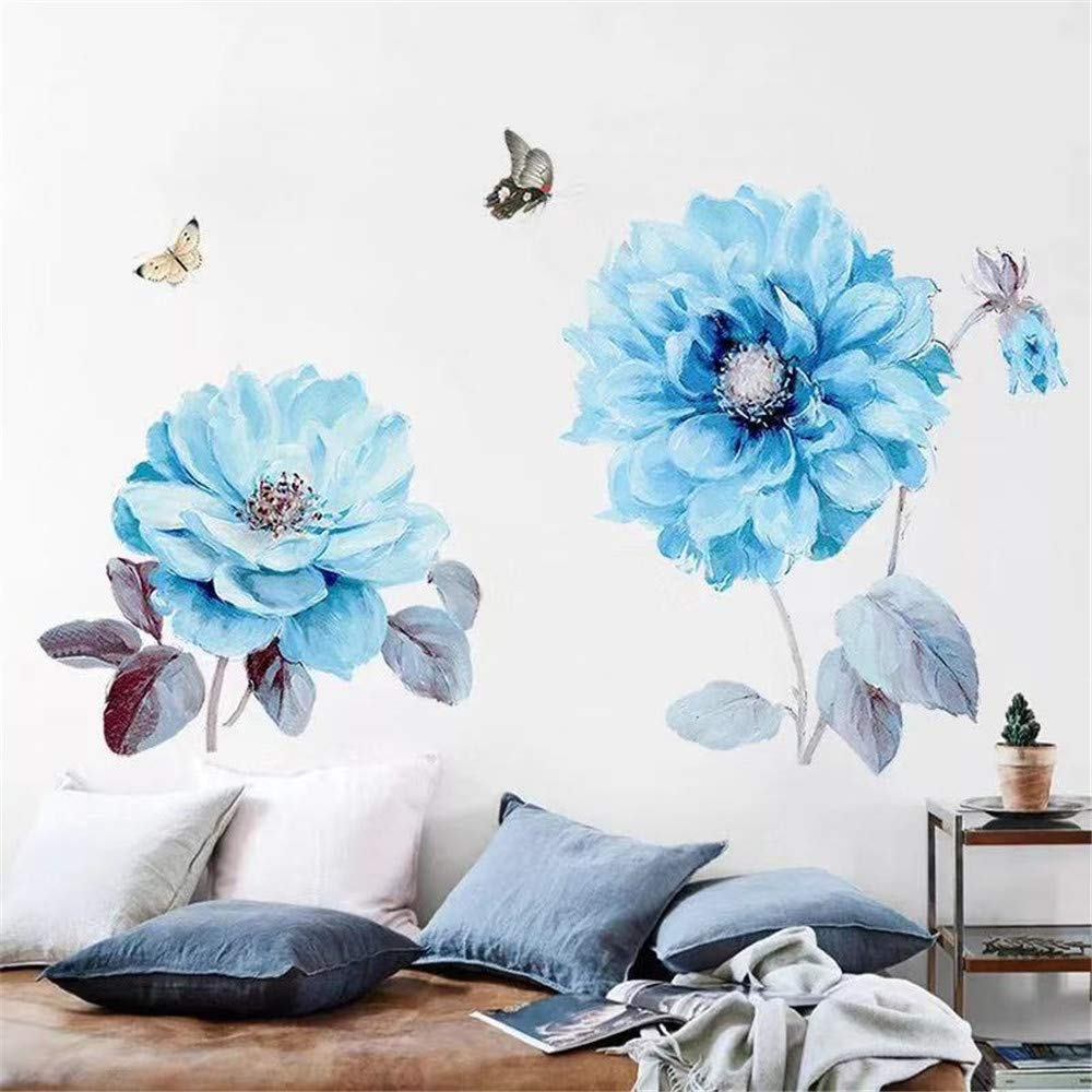 DERUN TRADING Big Flowers Wall Stickers Decals Murals Home Decor Peel and Stick for Living Room Home Improvement Paint Wall Treatments Wall Decals Murals Decor Vinyl Removable Mural Paper