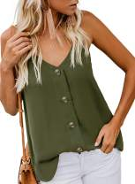 WNEEDU Women's Button Down V Neck Strappy Tank Tops Loose Casual Sleeveless Shirts Blouses