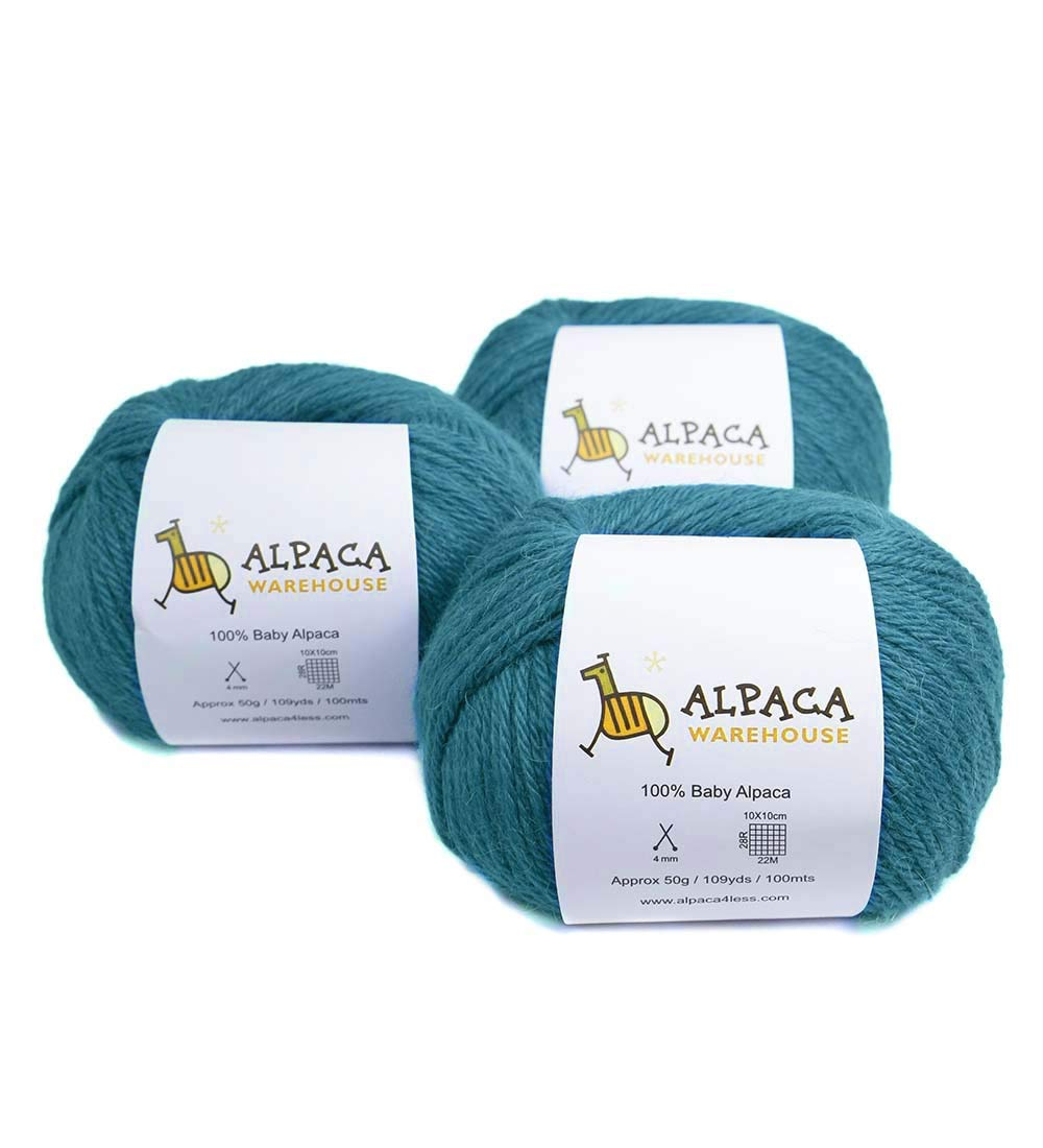 100% Baby Alpaca Yarn Wool Set of 3 Skeins Lace Worsted Bulky/Chunky Weight - Heavenly Soft and Perfect for Knitting and Crocheting (Turquoise, Worsted Weight)