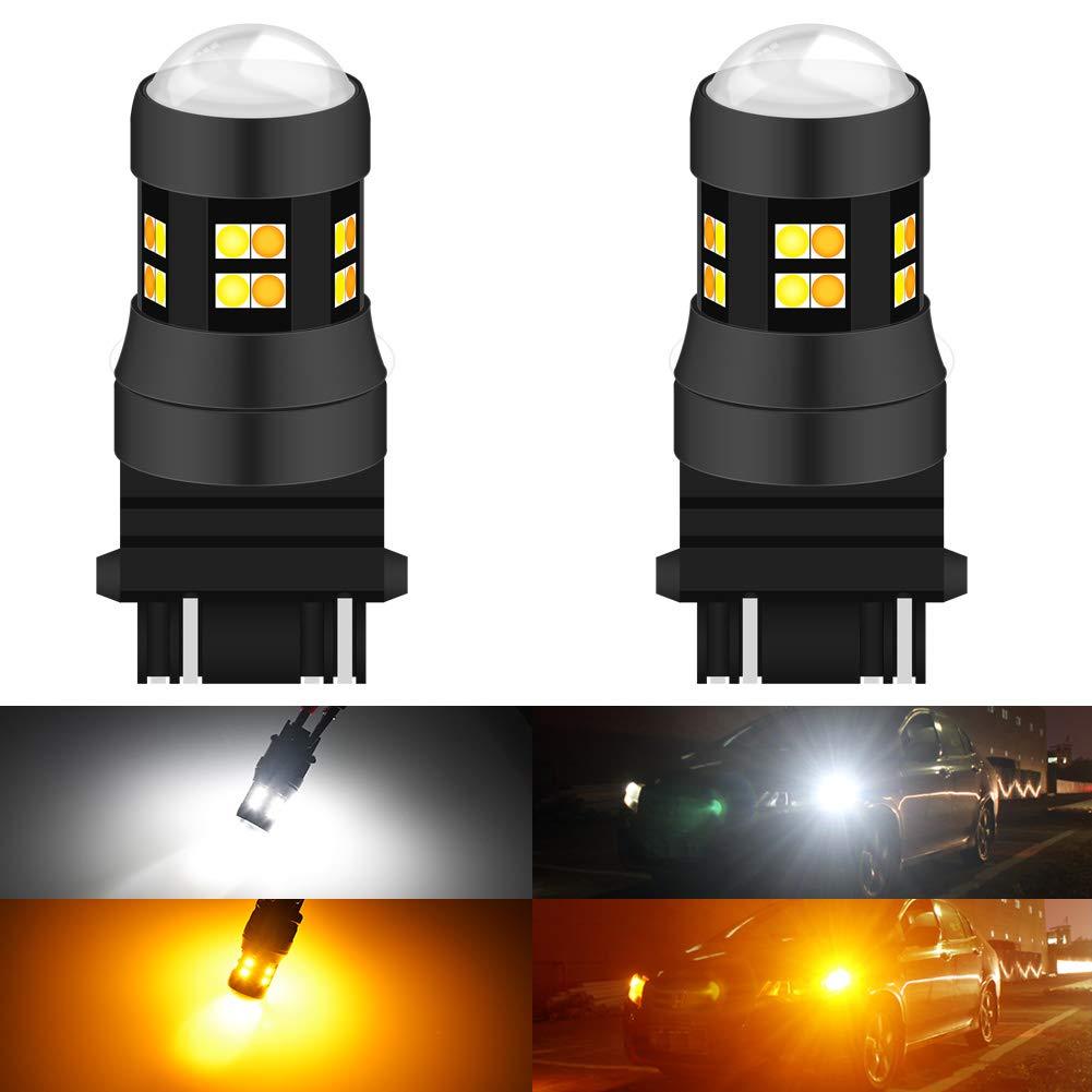 KATUR 3157 3047 3057 3155 3156 Switchback LED Bulbs White/Yellow High Power Extremely Bright 3030 Chipsets with Projector for Turn Signal Lights and Daytime Running Lights/DRL (Pack of 2)