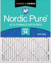 Nordic Pure 16x20x1 MERV 14 Pleated Plus Carbon AC Furnace Air Filters 6 Pack