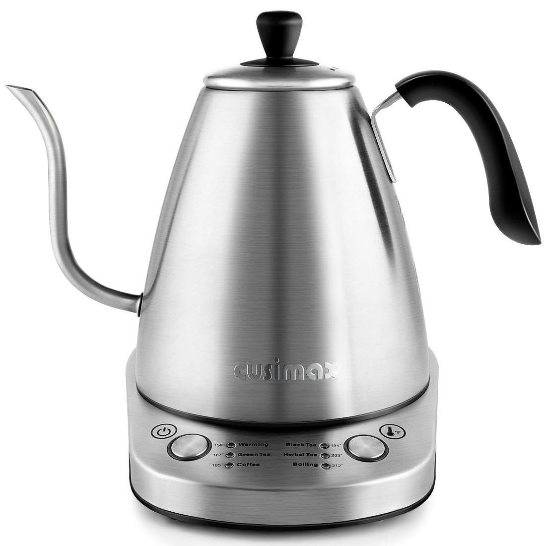 Gooseneck Tea Kettle, Cusimax Electric Kettle 1L, Variable kettle with 6 Temperatures Pour Over for Drip Coffee and Tea, Stainless Steel Kettle with Auto Keep Warming and Boil-Dry Protection, 1000W