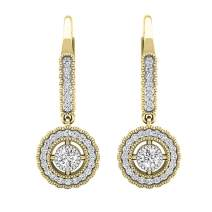 Dazzlingrock Collection 0.50 Carat (ctw) 18K Gold Round Diamond Ladies Halo Style Dangling Drop Earrings 1/2 CT