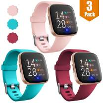 Maledan 3 Packs Bands Compatible with Fitbit Versa/Versa 2/Fitbit Versa Lite for Women and Men, Classic Soft Sport Strap Replacement Wristband for Fitbit Versa Smart Watch, Large, Pink/Teal/Red