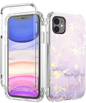 SPEVERT iPhone 11 Case, Marble Pattern Shock Absorption Stylish Case with Built-in Screen Protector Case Compatible for iPhone 11 6.1 inches (Purple)