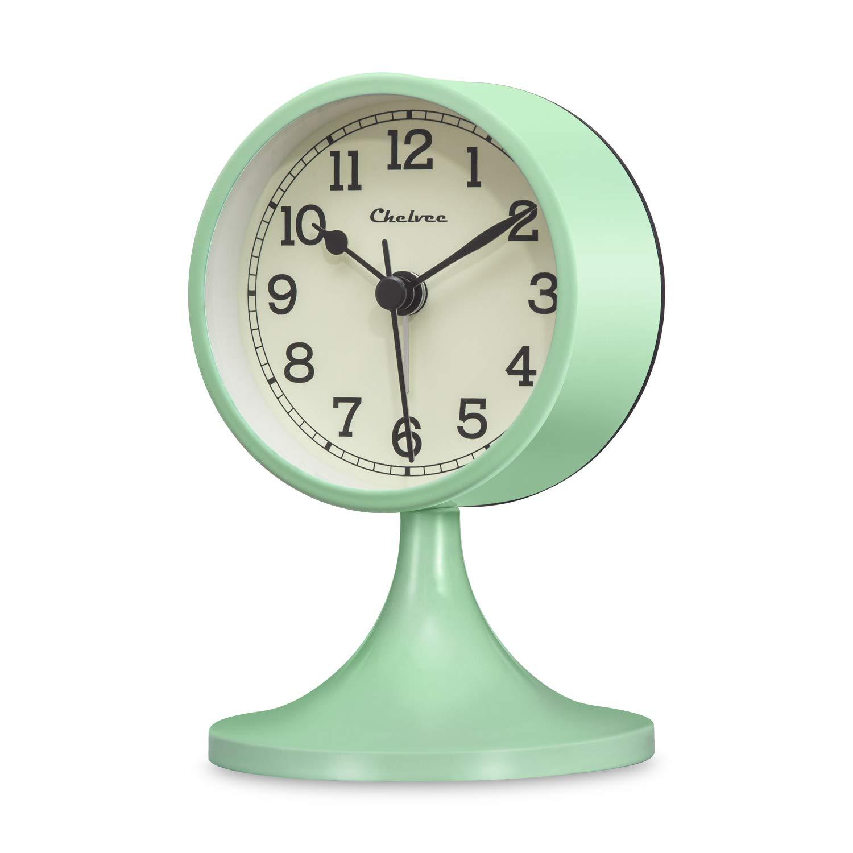 Chelvee Alarm Clock,3 inches Quartz Analog Desk Alarm Clock, Silent No Ticking,Battery Operated