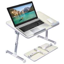 [Large Size] Neetto Height Adjustable Laptop Bed Desk, Portable Laptop Table Standing Desk, Sofa Breakfast Tray with Foldable Legs, Notebook Stand Reading Holder for Couch Floor Kids - Honeydew
