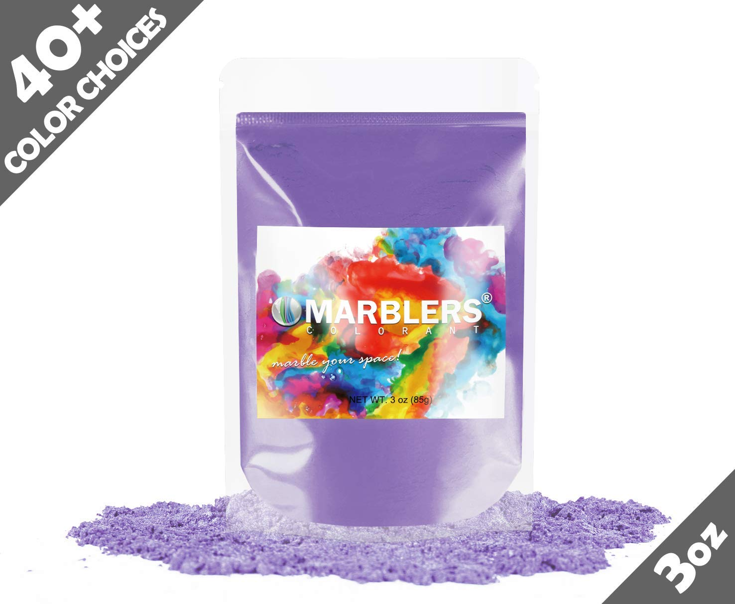 Marblers Powder Colorant 3oz (85g) [Bright Violet] | Pearlescent Pigment | Tint | Pure Mica Powder for Resin | Dye | Non-Toxic | Great for Epoxy, Soap, Nail Polish, Cosmetics and Bath Bombs