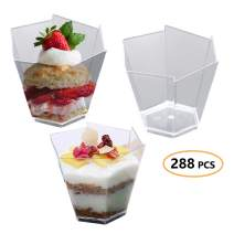 "Disposable Plastic Mini Cups 288 Pcs - 2.25"" Clear Ice Cream Containers - Hexagon Cup for Appetizer, Dessert Sample, Fruit, Pudding - Bulk Party Catering Supplies for Wedding, Birthday & All Occasions"