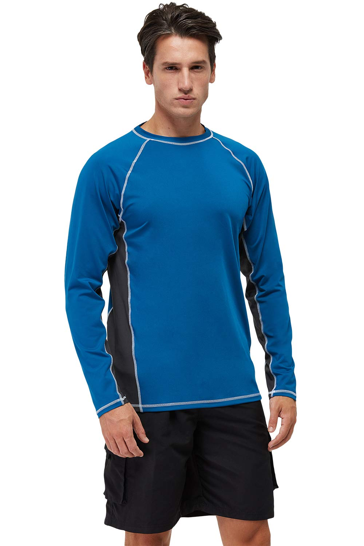 Mens Swim Shirts UPF 50+ UV Sun Protection Rashguard Long Sleeve Outdoor Dri-fit T-Shirt for Running,Fishing,Hiking,Workout