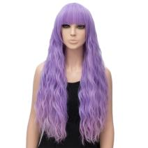 Netgo Women's Purple Mixed Pink Wig Long Fluffy Curly Wavy Hair Wigs for Girl Synthetic Party Wigs