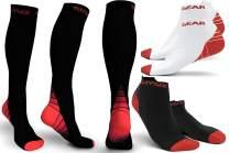 Physix Gear Sport Compression Socks for Men & Women 20-30 mmHg - 2 Pairs Low Cut & 1 Pair Knee High