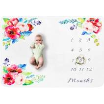 """Baby Monthly Milestone Blanket Cool Infant Cotton Shower Gifts Newborns Growing Funny Unique Picture Prop Design for Girls Boys Size 60"""" x 40"""""""