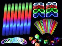 250 Pieces LED Light Up Foam Sticks Set - 3 Modes Color Changing - Flashing Glow in the Dark Party Supplies Light Up Baton Wands for Birthday, Wedding, Party,Concert and Festivals (Adult Edition)
