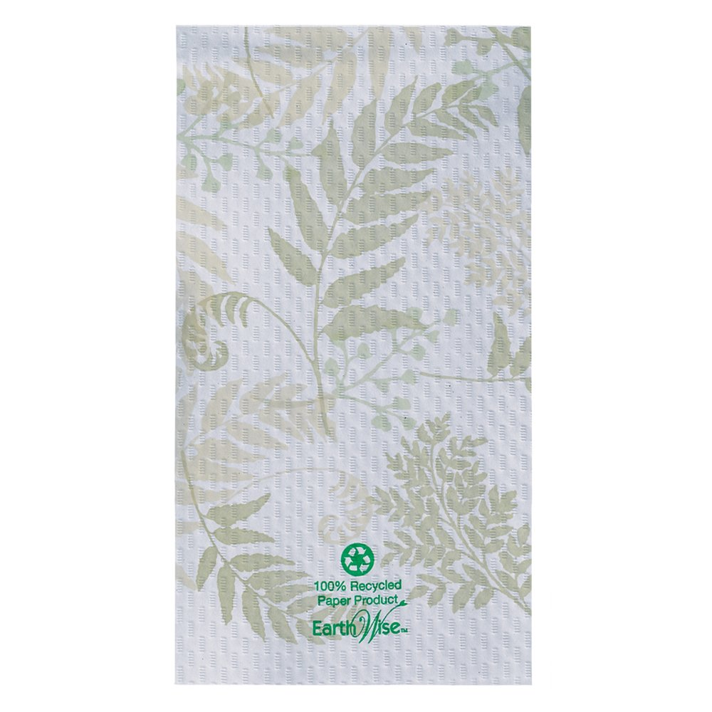 """Hoffmaster 856301 Earth Wise Recycled Paper Guest Towel, Overall Embossed, 2 Ply, 1/6 Fold, 17"""" Length x 13"""" Width, Nature's Greens (Case of 1000)"""