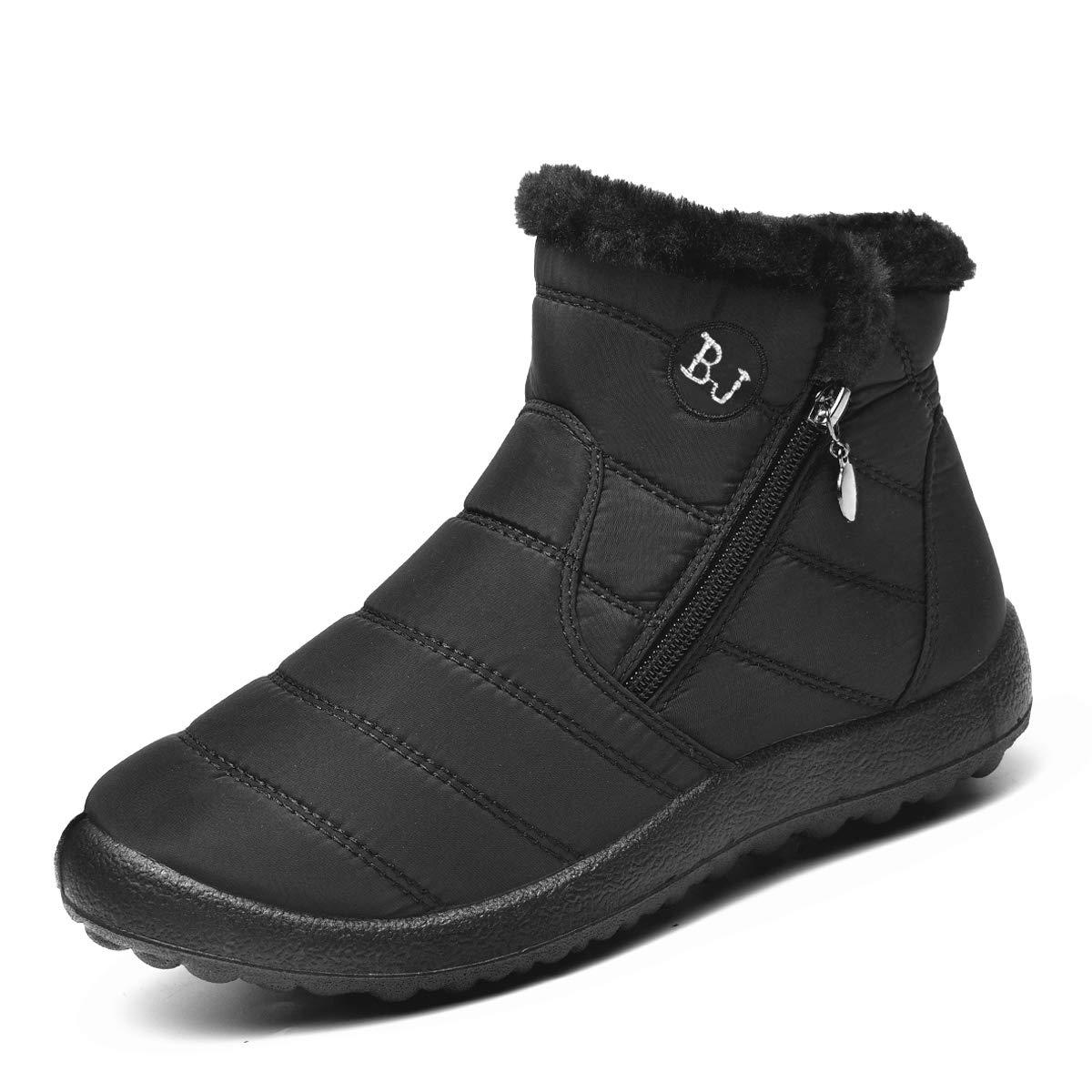Ginjang Women Winter Snow Boots Warm Ankle Boots Anti-Slip Waterproof Winter Shoes Slip On Booties Sneakers